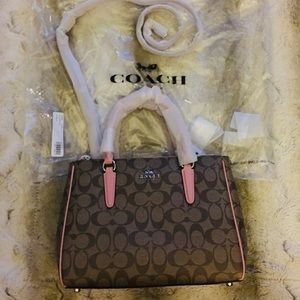 Coach Handbag New! Brown Tan & Petal Medium Size.
